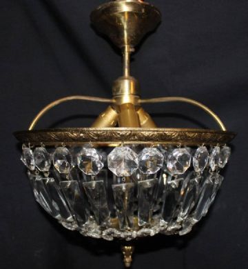 A VINTAGE FRENCH CEILING LIGHT, CIRCULAR GLASS BAG CHANDELIER - Ref: AMY15